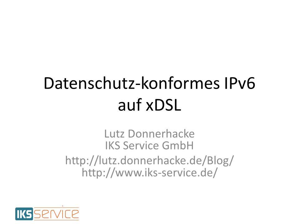 Quagga Statische Konfig für alle Interfaces interface ng1234 ipv6 address 2001:db8:70:4d2::1/64 no ipv6 nd suppress-ra ipv6 nd other-config-flag ipv6 nd prefix 2001:db8:70:4d2::/64 7200 3600 Routing ipv6 prefix-list statics6 deny 2001:db8:70::/44 ge 45 ipv6 prefix-list statics6 permit 2001:db8::/32 le 64 route-map redistribute6 permit 1 match ipv6 address prefix-list statics6 router ospf6 redistribute kernel route-map redistribute6 redistribute static route-map redistribute6 12Datenschutzfreundliches IPv6 auf xDSL