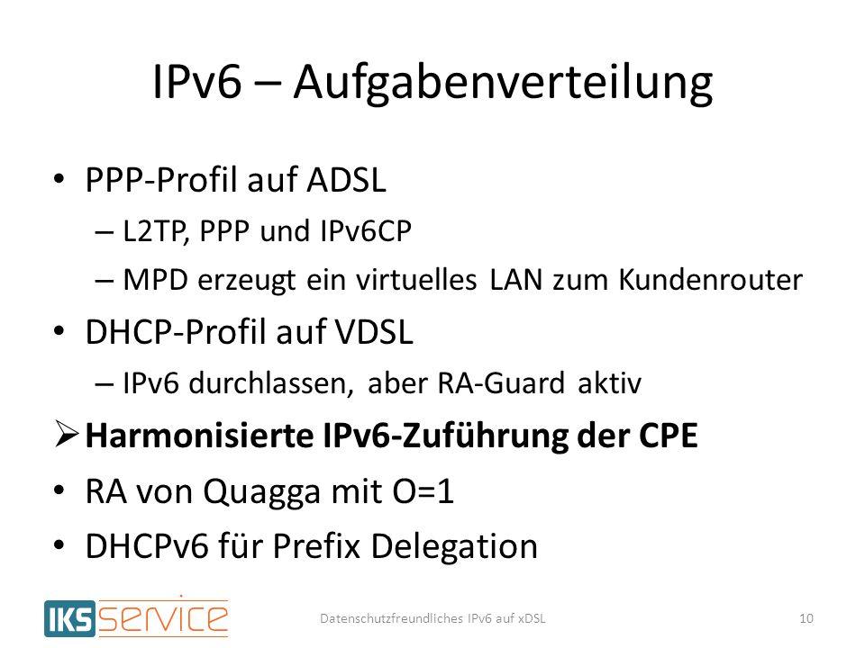 IPv6 – Aufgabenverteilung PPP-Profil auf ADSL – L2TP, PPP und IPv6CP – MPD erzeugt ein virtuelles LAN zum Kundenrouter DHCP-Profil auf VDSL – IPv6 dur