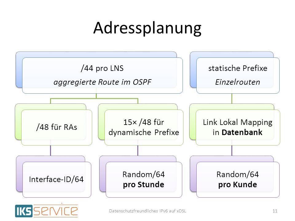 Adressplanung /44 pro LNS aggregierte Route im OSPF /48 für RAsInterface-ID/64 15× /48 für dynamische Prefixe Random/64 pro Stunde statische Prefixe E