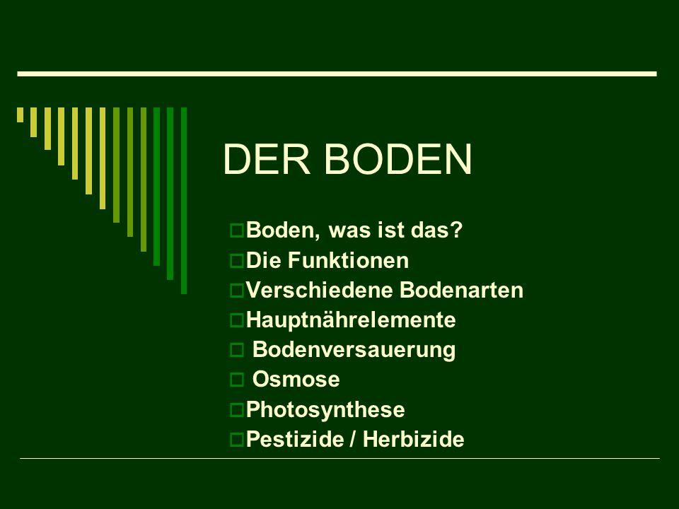 DER BODEN  Boden, was ist das?  Die Funktionen  Verschiedene Bodenarten  Hauptnährelemente  Bodenversauerung  Osmose  Photosynthese  Pestizide