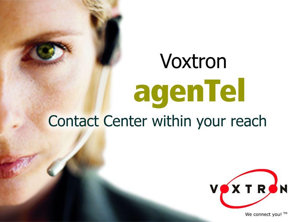 ● agenTel ist Voxtrons Contact Center-Lösung, die den Einsatz von Call-Center- Technologien in kleinen und mittelständischen Unternehmen sowie Abteilungen von Großunternehmen zu einem wirtschaftlichen Preis ermöglicht.