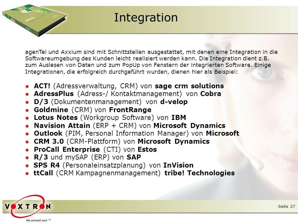 Seite 28 Integration agenTel bietet neben zahlreichen Protokollen wie ODBC, SMTP, POP3 usw.