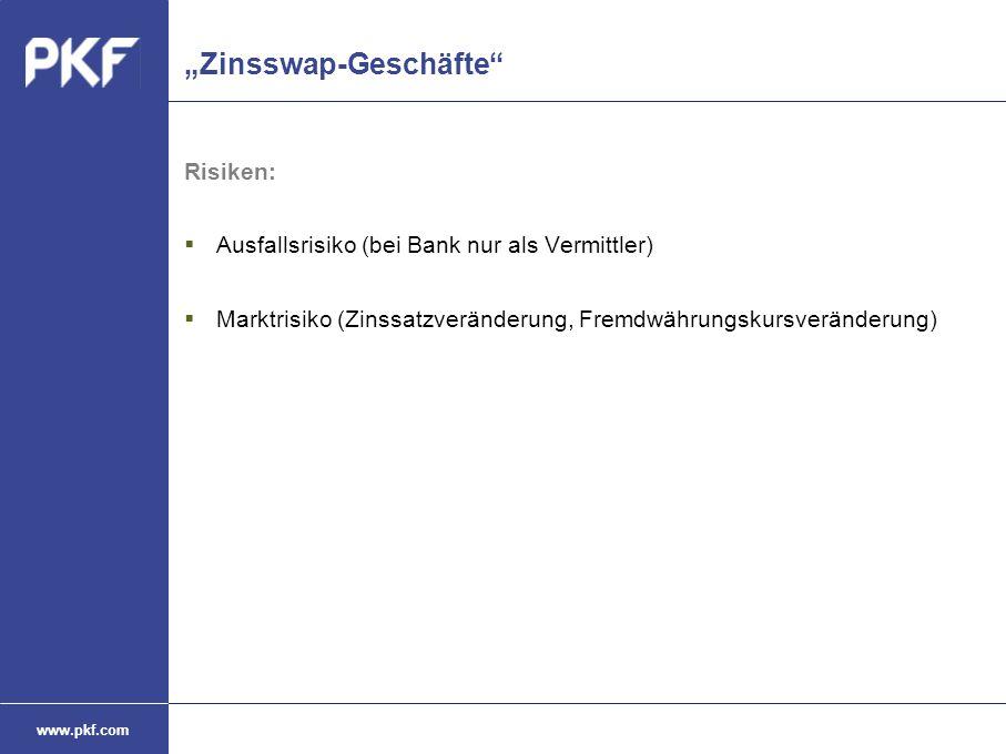 """www.pkf.com """"Zinsswap-Geschäfte"""" Risiken:  Ausfallsrisiko (bei Bank nur als Vermittler)  Marktrisiko (Zinssatzveränderung, Fremdwährungskursveränder"""
