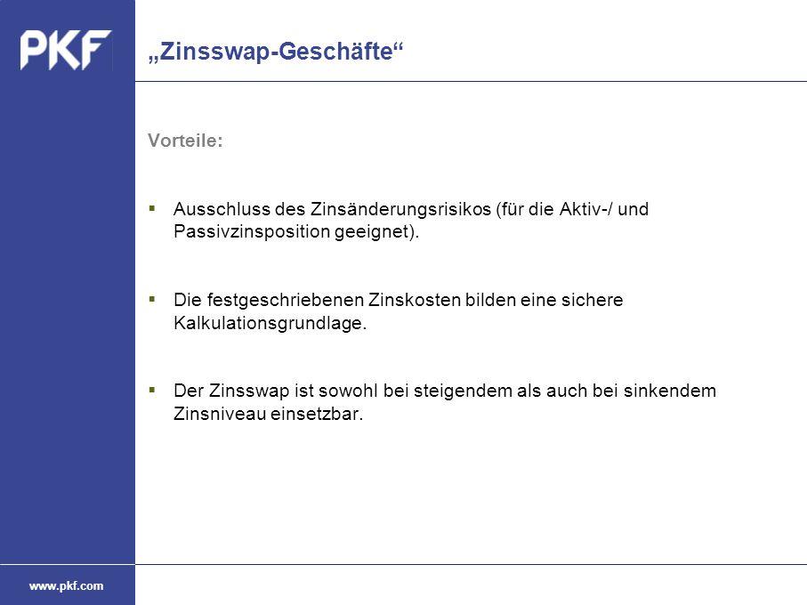 """www.pkf.com """"Zinsswap-Geschäfte"""" Vorteile:  Ausschluss des Zinsänderungsrisikos (für die Aktiv-/ und Passivzinsposition geeignet).  Die festgeschrie"""