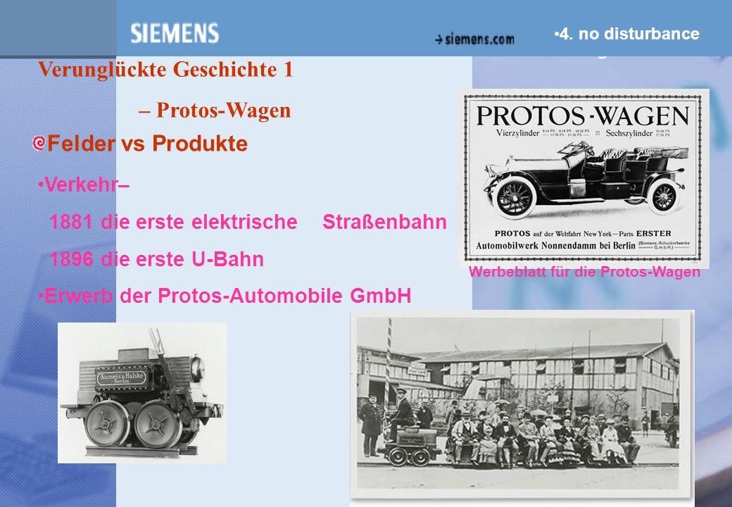 z 4. no disturbance Verunglückte Geschichte 1 – Protos-Wagen Verkehr– 1881 die erste elektrische Straßenbahn 1896 die erste U-Bahn Erwerb der Protos-A