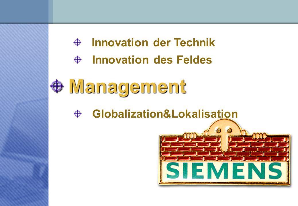 Management Globalization&Lokalisation Innovation der Technik Innovation des Feldes