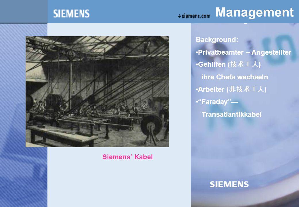 z Management Background: Privatbeamter – Angestellter Gehilfen ( 技术工人 ) ihre Chefs wechseln Arbeiter ( 非技术工人 ) Faraday — Transatlantikkabel Siemens' Kabel
