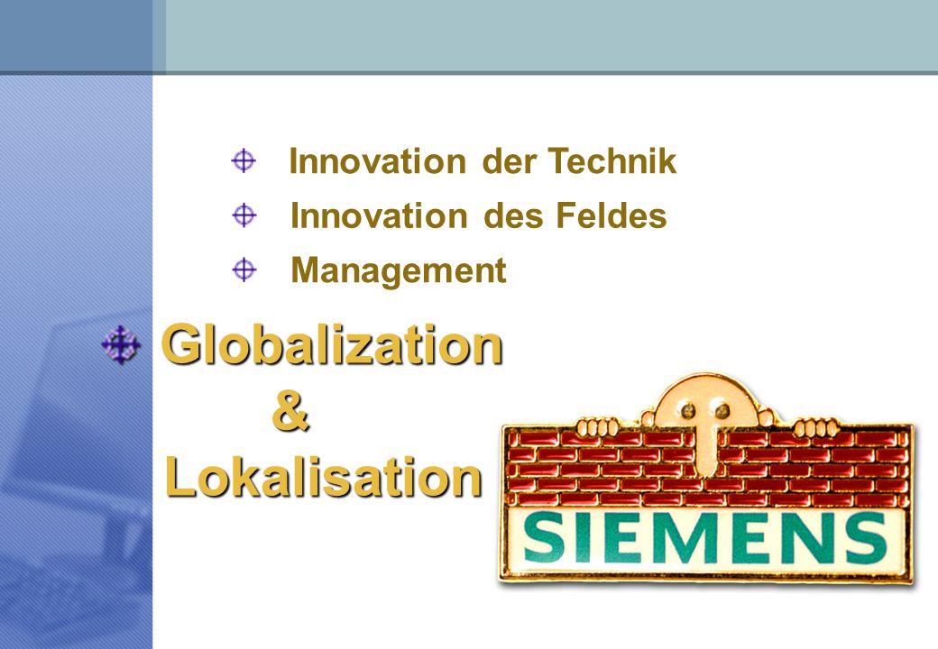Innovation des Feldes Innovation der Technik Management Globalization & Lokalisation Lokalisation