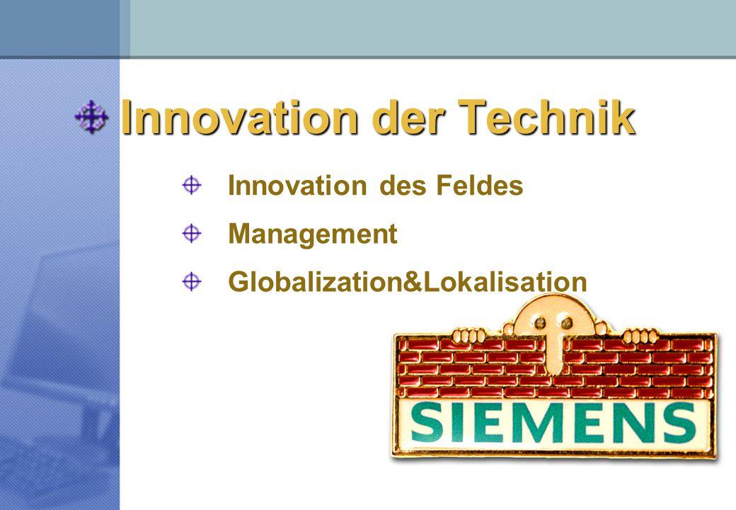 Innovation der Technik Globalization&Lokalisation Management Innovation des Feldes