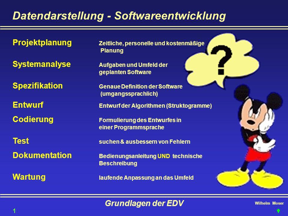 Wilhelm Moser Grundlagen der EDV Datendarstellung - Softwareentwicklung Projektplanung Zeitliche, personelle und kostenmäßige Planung Systemanalyse Au