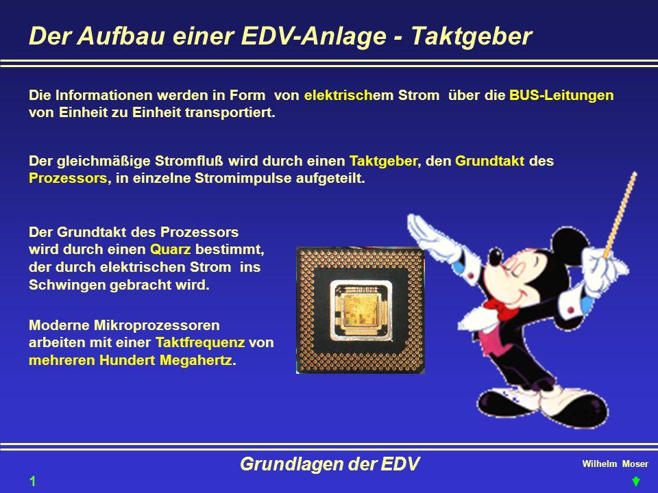 Wilhelm Moser Grundlagen der EDV Der Aufbau einer EDV-Anlage - Taktgeber Die Informationen werden in Form von elektrischem Strom über die BUS-Leitunge