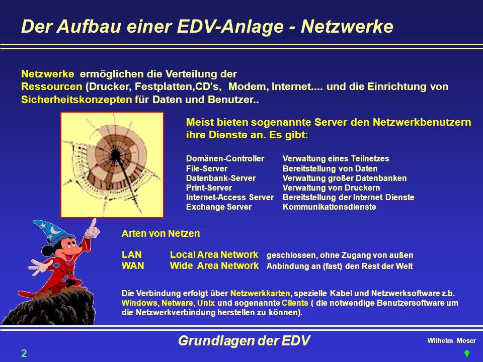 Wilhelm Moser Grundlagen der EDV Der Aufbau einer EDV-Anlage - Netzwerke Netzwerke ermöglichen die Verteilung der Ressourcen (Drucker, Festplatten,CD'