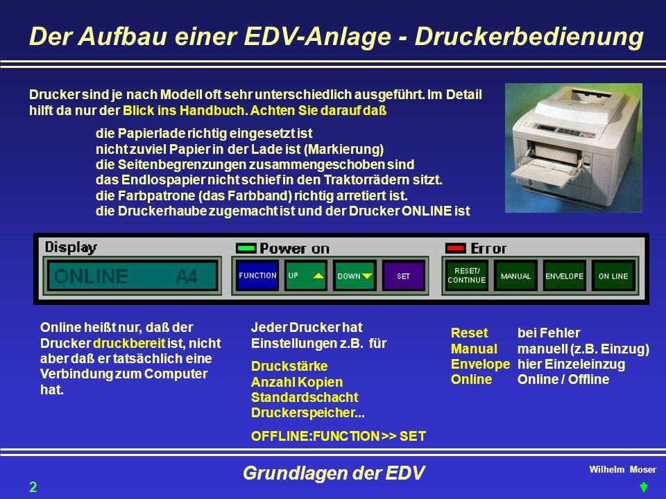 Wilhelm Moser Grundlagen der EDV Der Aufbau einer EDV-Anlage - Druckerbedienung Drucker sind je nach Modell oft sehr unterschiedlich ausgeführt. Im De