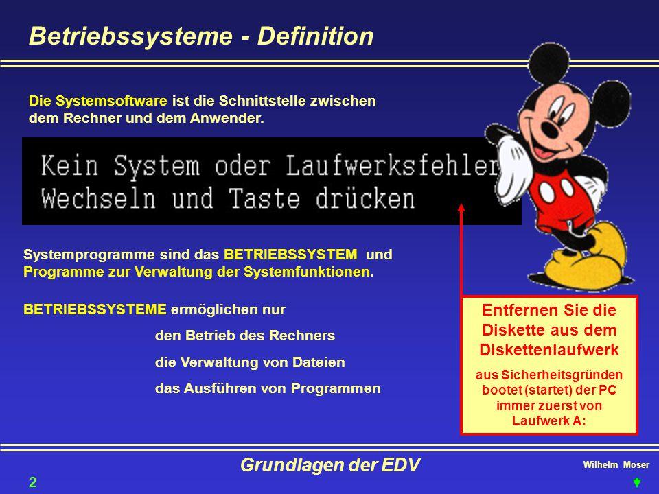 Wilhelm Moser Grundlagen der EDV Betriebssysteme - Definition Die Systemsoftware ist die Schnittstelle zwischen dem Rechner und dem Anwender. Systempr