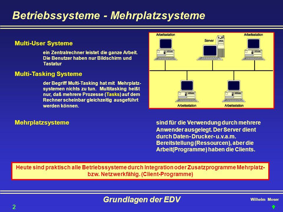 Wilhelm Moser Grundlagen der EDV Betriebssysteme - Mehrplatzsysteme Multi-User Systeme ein Zentralrechner leistet die ganze Arbeit. Die Benutzer haben