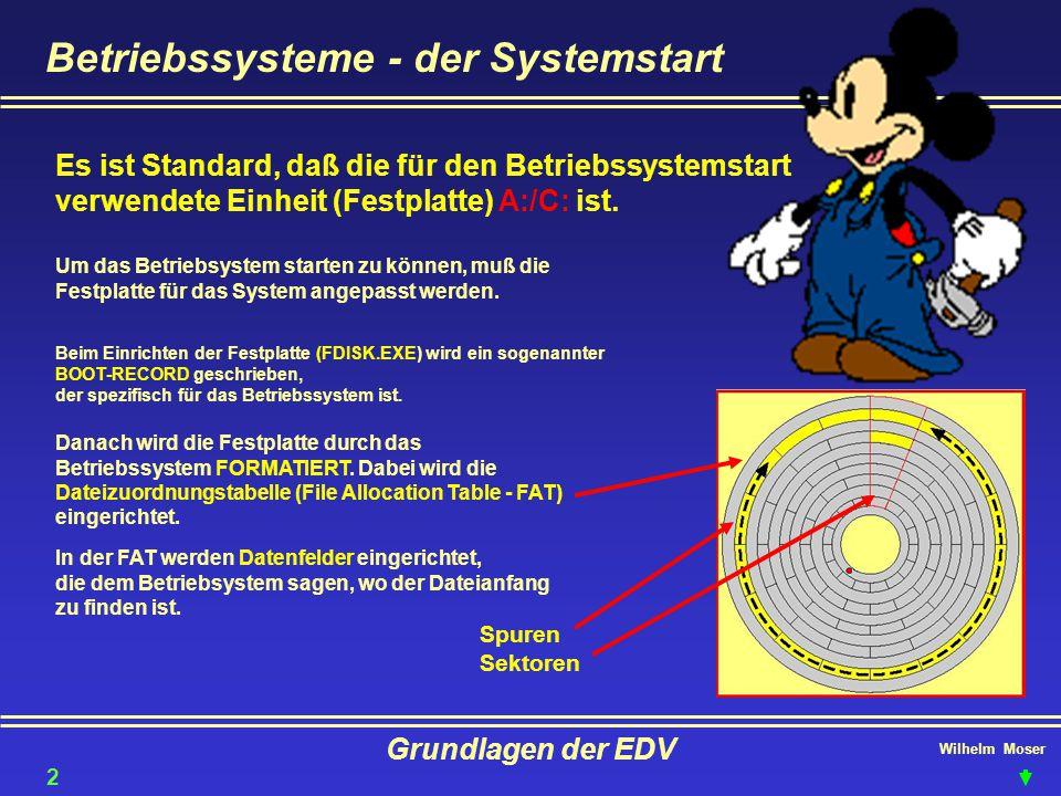 Wilhelm Moser Grundlagen der EDV Betriebssysteme - der Systemstart Es ist Standard, daß die für den Betriebssystemstart verwendete Einheit (Festplatte