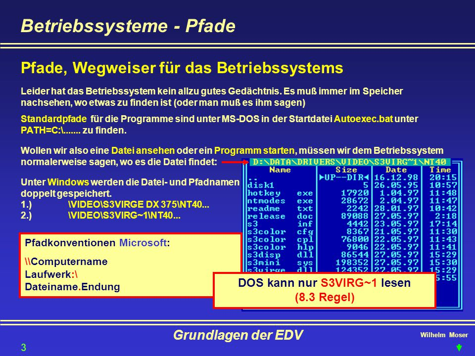 Wilhelm Moser Grundlagen der EDV Betriebssysteme - Pfade Pfade, Wegweiser für das Betriebssystems Leider hat das Betriebssystem kein allzu gutes Gedäc