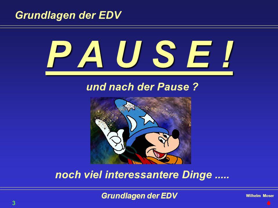 Wilhelm Moser Grundlagen der EDV P A U S E ! und nach der Pause ? noch viel interessantere Dinge..... Grundlagen der EDV 35