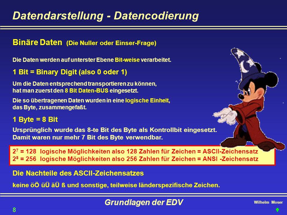 Wilhelm Moser Grundlagen der EDV Datendarstellung - Datencodierung Binäre Daten (Die Nuller oder Einser-Frage) Die Daten werden auf unterster Ebene Bi
