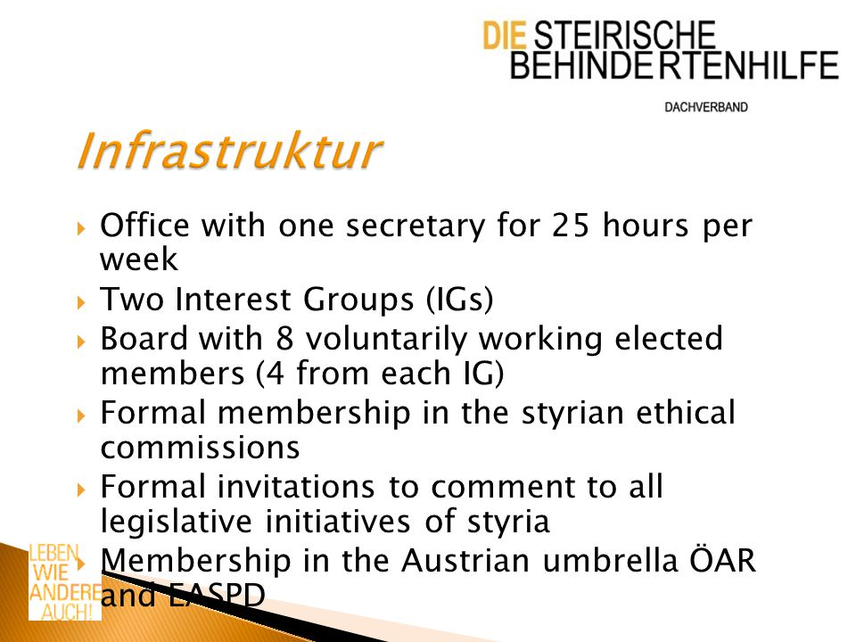  Office with one secretary for 25 hours per week  Two Interest Groups (IGs)  Board with 8 voluntarily working elected members (4 from each IG)  Fo