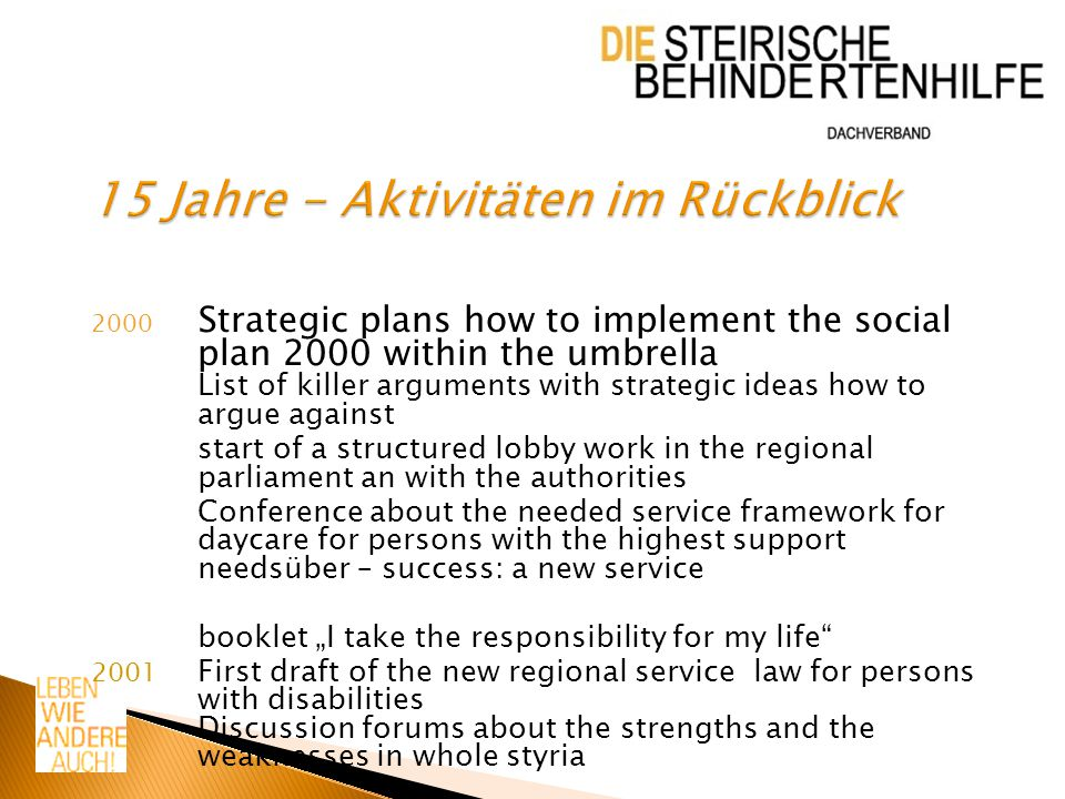 """2002 Activities for a new law in styria -Picture post cars -Flags in the main street of graz saying """"we want to live like everybody else -Buttons -Enquete in the styrian parliament implementation of a new secretariat in Gleisdorf"""