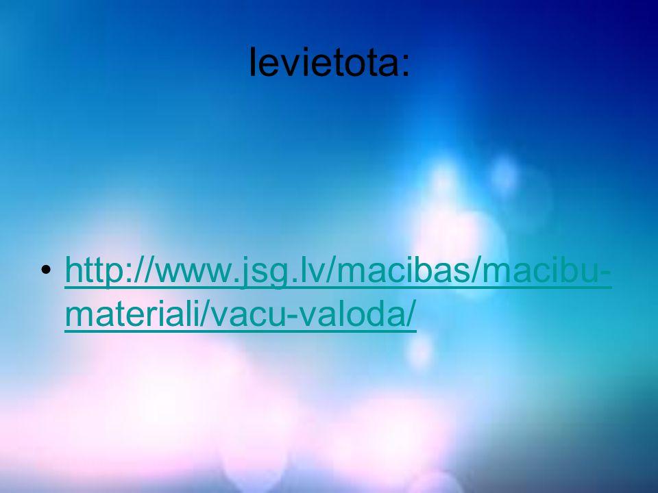 Ievietota: http://www.jsg.lv/macibas/macibu- materiali/vacu-valoda/http://www.jsg.lv/macibas/macibu- materiali/vacu-valoda/