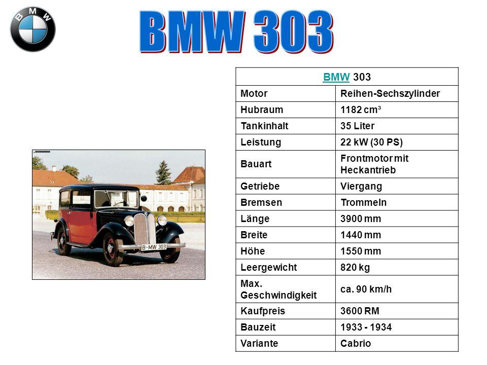 BMWBMW 303 MotorReihen-Sechszylinder Hubraum1182 cm³ Tankinhalt35 Liter Leistung22 kW (30 PS) Bauart Frontmotor mit Heckantrieb GetriebeViergang Brems