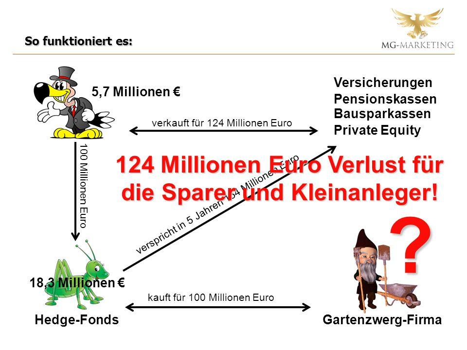 Hedge-FondsGartenzwerg-Firma kauft für 100 Millionen Euro 100 Millionen Euro Versicherungen Pensionskassen Bausparkassen verkauft für 124 Millionen Eu