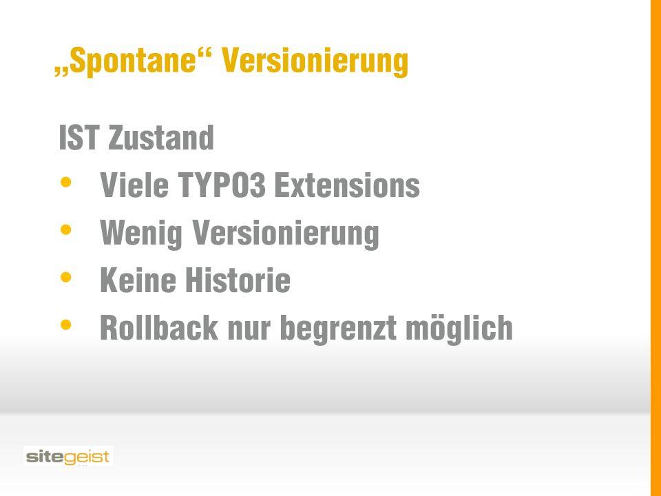 """""""Spontane Versionierung IST Zustand Viele TYPO3 Extensions Wenig Versionierung Keine Historie Rollback nur begrenzt möglich"""