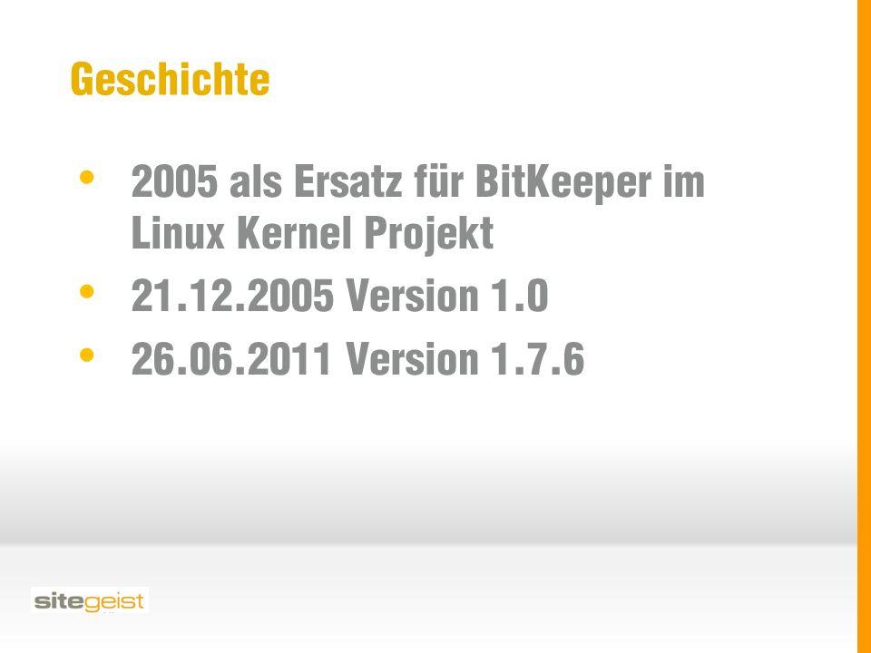Geschichte 2005 als Ersatz für BitKeeper im Linux Kernel Projekt 21.12.2005 Version 1.0 26.06.2011 Version 1.7.6