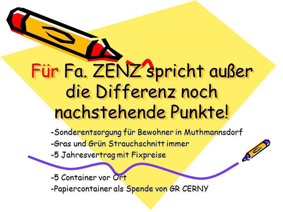 Für Fa. ZENZ spricht außer die Differenz noch nachstehende Punkte.