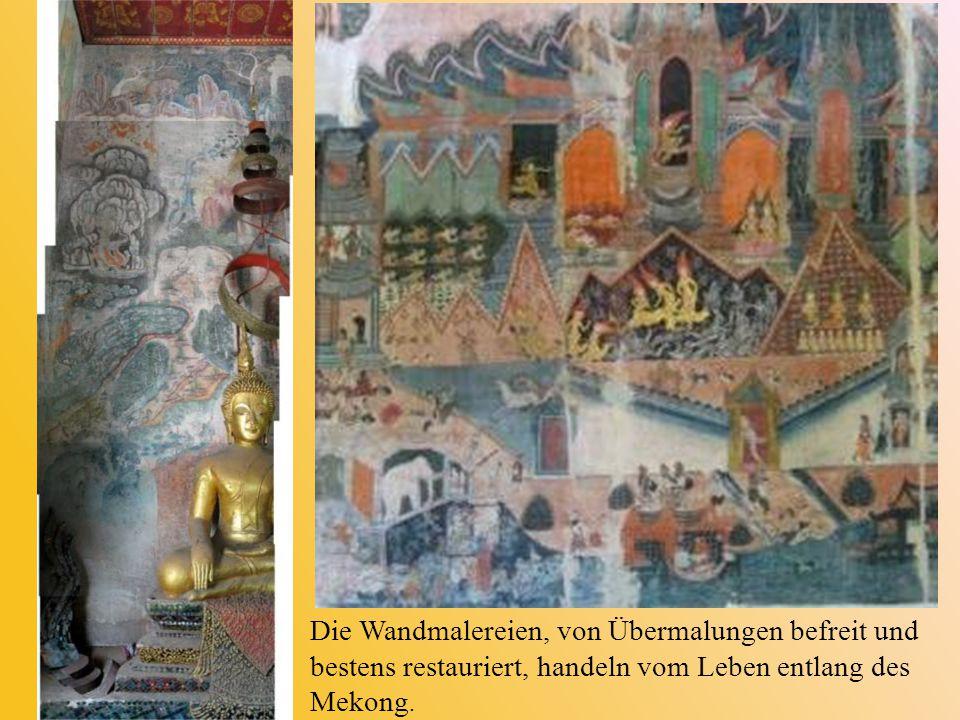 Die Wandmalereien, von Übermalungen befreit und bestens restauriert, handeln vom Leben entlang des Mekong.