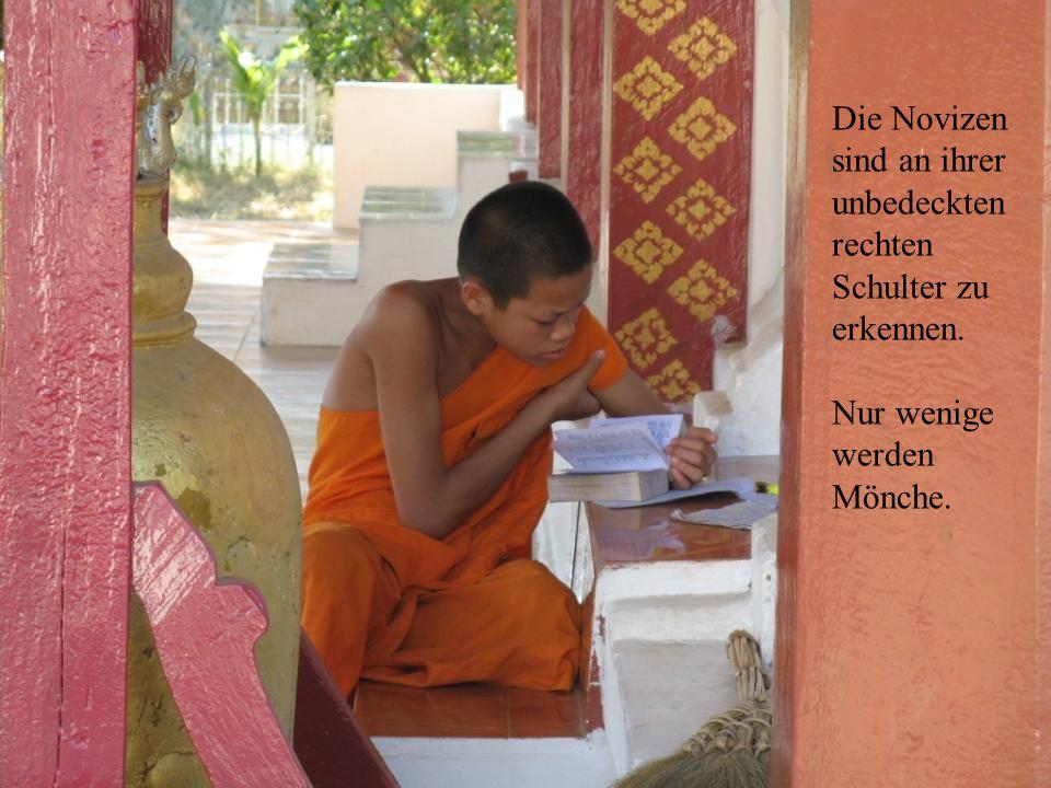 Die Novizen sind an ihrer unbedeckten rechten Schulter zu erkennen. Nur wenige werden Mönche.