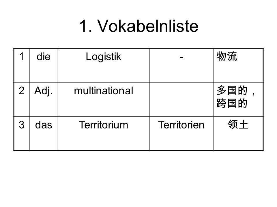 1. Vokabelnliste 1dieLogistik- 物流 2Adj.multinational 多国的, 跨国的 3dasTerritoriumTerritorien 领土