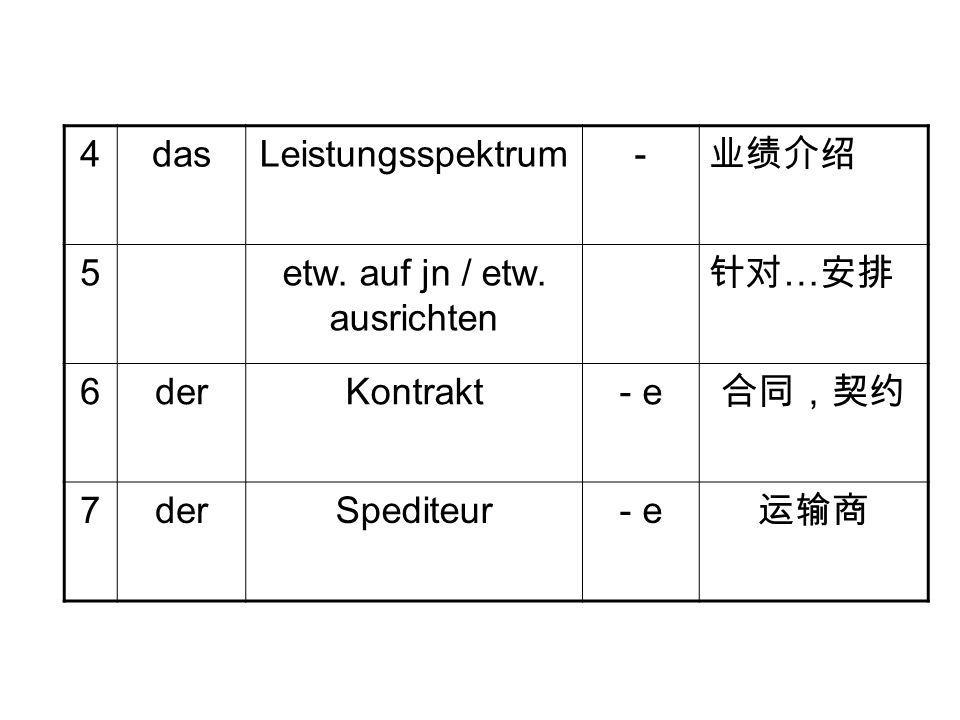4dasLeistungsspektrum- 业绩介绍 5etw. auf jn / etw. ausrichten 针对 … 安排 6derKontrakt- e 合同,契约 7derSpediteur- e 运输商