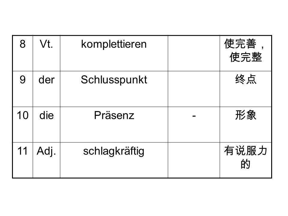 8Vt.komplettieren 使完善, 使完整 9derSchlusspunkt 终点 10diePräsenz- 形象 11Adj.schlagkräftig 有说服力 的
