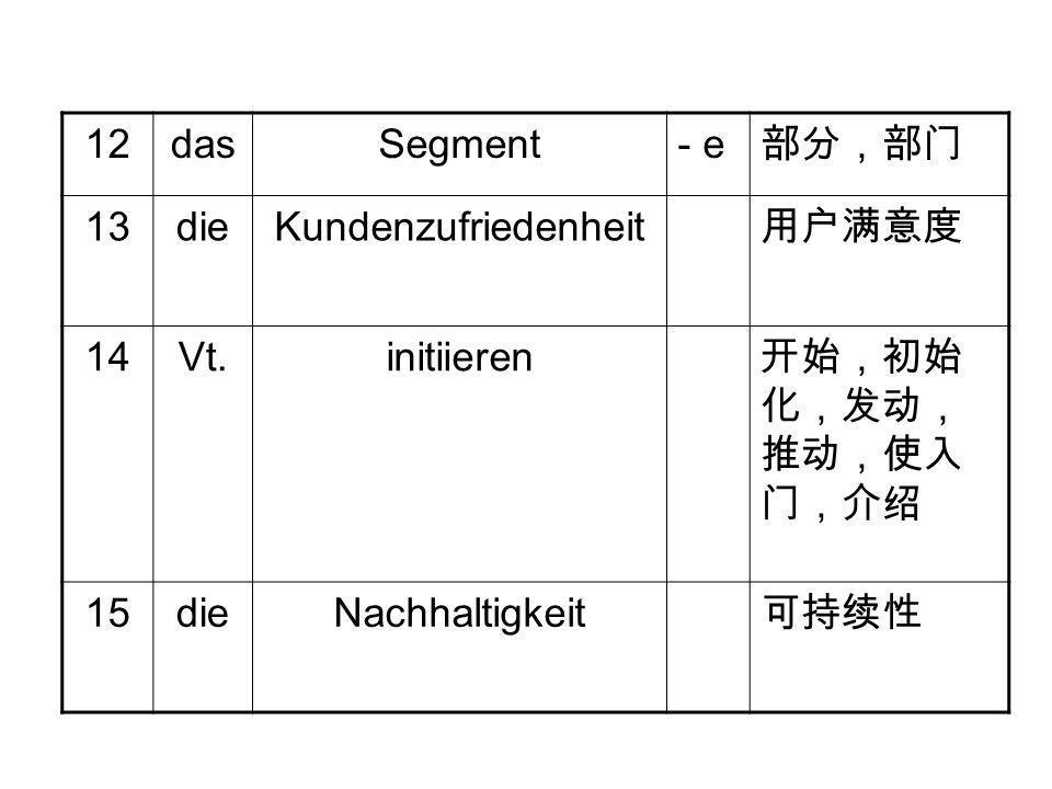 12dasSegment- e 部分,部门 13dieKundenzufriedenheit 用户满意度 14Vt.initiieren 开始,初始 化,发动, 推动,使入 门,介绍 15dieNachhaltigkeit 可持续性