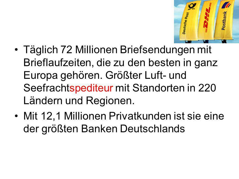 Täglich 72 Millionen Briefsendungen mit Brieflaufzeiten, die zu den besten in ganz Europa gehören. Größter Luft- und Seefrachtspediteur mit Standorten