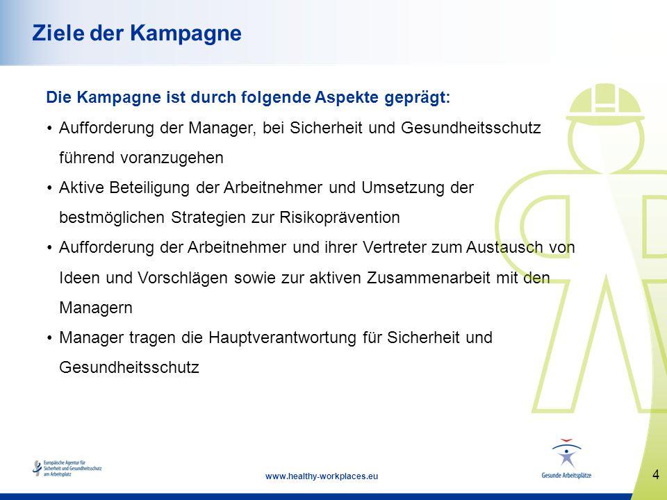 4 www.healthy-workplaces.eu Ziele der Kampagne Die Kampagne ist durch folgende Aspekte geprägt: Aufforderung der Manager, bei Sicherheit und Gesundhei