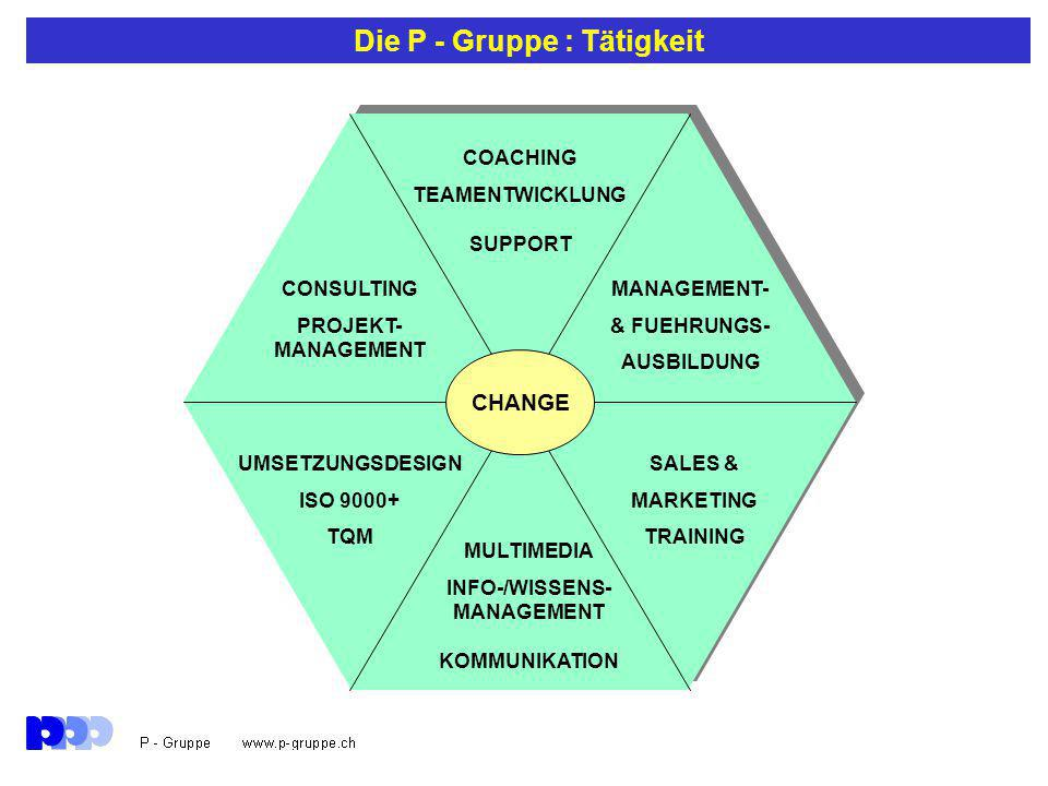 Die P - Gruppe : Tätigkeit CHANGE COACHING TEAMENTWICKLUNG SUPPORT CONSULTING PROJEKT- MANAGEMENT MANAGEMENT- & FUEHRUNGS- AUSBILDUNG MULTIMEDIA INFO-/WISSENS- MANAGEMENT KOMMUNIKATION SALES & MARKETING TRAINING UMSETZUNGSDESIGN ISO 9000+ TQM
