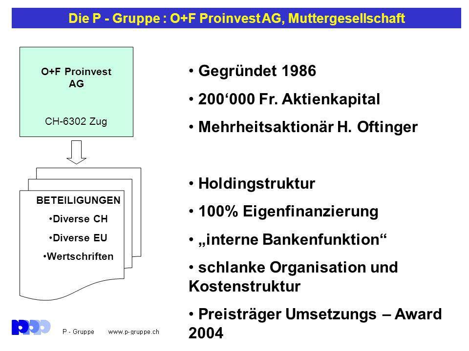 Die P - Gruppe : O+F Proinvest AG, Muttergesellschaft Gegründet 1986 200'000 Fr.