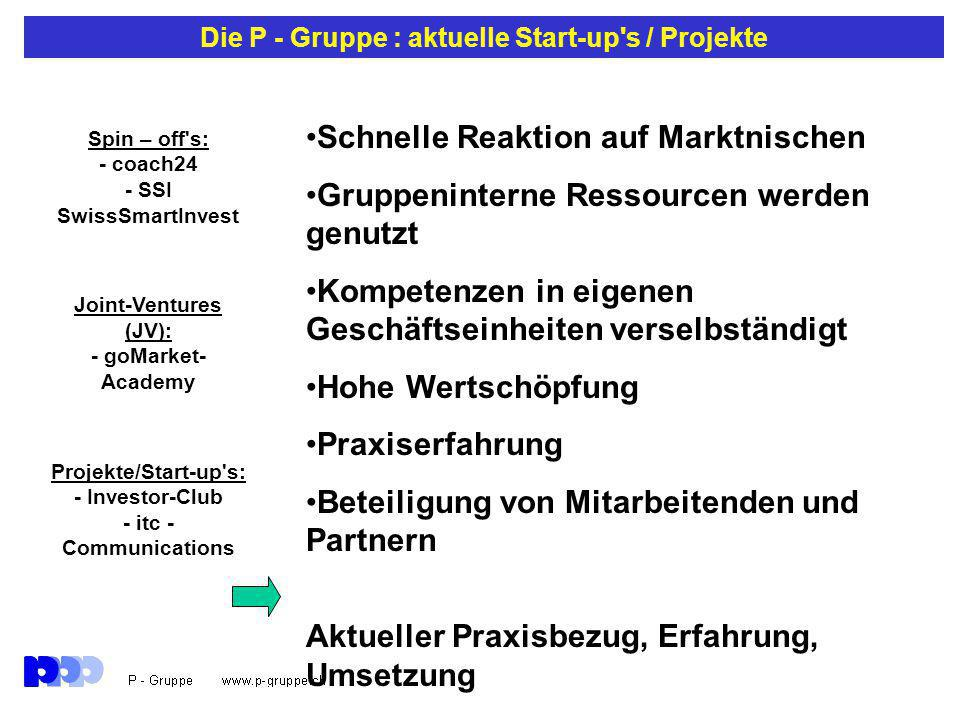 Die P - Gruppe : aktuelle Start-up s / Projekte Schnelle Reaktion auf Marktnischen Gruppeninterne Ressourcen werden genutzt Kompetenzen in eigenen Geschäftseinheiten verselbständigt Hohe Wertschöpfung Praxiserfahrung Beteiligung von Mitarbeitenden und Partnern Aktueller Praxisbezug, Erfahrung, Umsetzung Spin – off s: - coach24 - SSI SwissSmartInvest Joint-Ventures (JV): - goMarket- Academy Projekte/Start-up s: - Investor-Club - itc - Communications