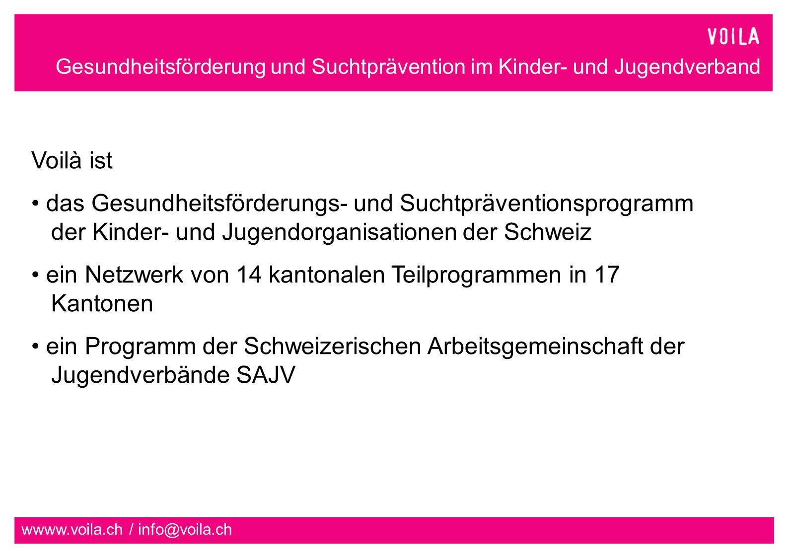 Gesundheitsförderung und Suchtprävention im Kinder- und Jugendverband wwww.voila.ch / info@voila.ch Voilà ist das Gesundheitsförderungs- und Suchtpräventionsprogramm der Kinder- und Jugendorganisationen der Schweiz ein Netzwerk von 14 kantonalen Teilprogrammen in 17 Kantonen ein Programm der Schweizerischen Arbeitsgemeinschaft der Jugendverbände SAJV