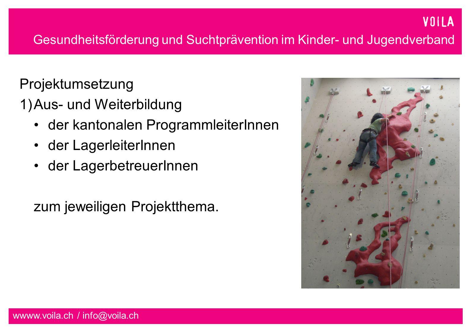 Gesundheitsförderung und Suchtprävention im Kinder- und Jugendverband wwww.voila.ch / info@voila.ch Projektumsetzung 1)Aus- und Weiterbildung der kantonalen ProgrammleiterInnen der LagerleiterInnen der LagerbetreuerInnen zum jeweiligen Projektthema.