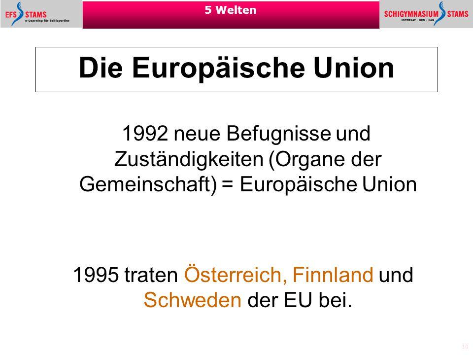 10 5 Welten Die Europäische Union 1992 neue Befugnisse und Zuständigkeiten (Organe der Gemeinschaft) = Europäische Union 1995 traten Österreich, Finnl