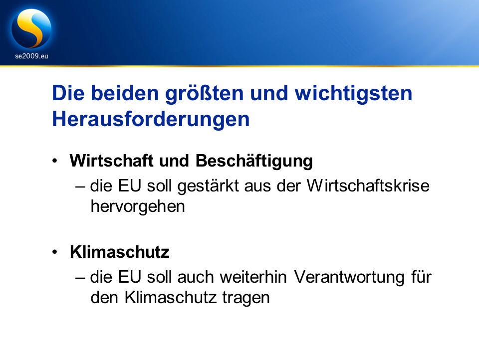 Weitere wichtige Herausforderungen Stockholmer Programm –Gewährleistung der Sicherheit und der Rechte des Individuums Ostseestrategie –sauberere Meeresumwelt und größere Wettbewerbsfähigkeit der Region die EU, ihre Nachbarn und die Welt –Stärkung der Rolle der EU als globaler Akteur –Fortsetzung des Erweiterungsprozesses
