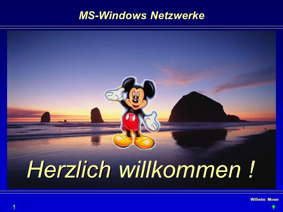 Wilhelm Moser MS-Windows Netzwerke WfW, Windows9X - Arbeitsgruppe einrichten (Netzwerkumgebung -rechtsklick - Eigenschaften) Computername: der muß eindeutig im Netz sein.