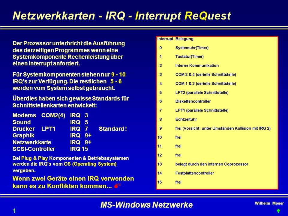 Wilhelm Moser MS-Windows Netzwerke Netzwerkkarten - IRQ - Interrupt ReQuest Der Prozessor unterbricht die Ausführung des derzeitigen Programmes wenn eine Systemkomponente Rechenleistung über einen Interrupt anfordert.