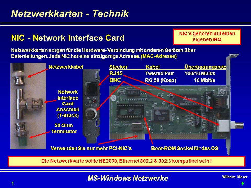 Wilhelm Moser MS-Windows Netzwerke Netzwerkkarten - Technik NIC - Network Interface Card Netzwerkkarten sorgen für die Hardware- Verbindung mit anderen Geräten über Datenleitungen.
