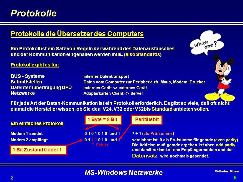 Wilhelm Moser MS-Windows Netzwerke Protokolle Protokolle die Übersetzer des Computers Ein Protokoll ist ein Satz von Regeln der während des Datenaustausches und der Kommunikation eingehalten werden muß.